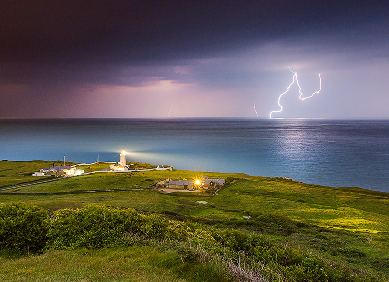 1553 Lightning St Catherines Lighthouse - The Isle of Wight at Night landscapes
