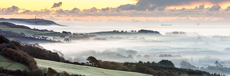 1131 Morning Mist Sandown Bay - Sandown, Shanklin and Godshill panoramics
