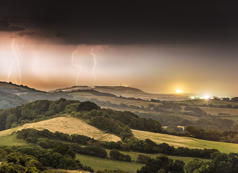 1422 Lightning Strike Culver Cliff - The Isle of Wight at Night landscapes