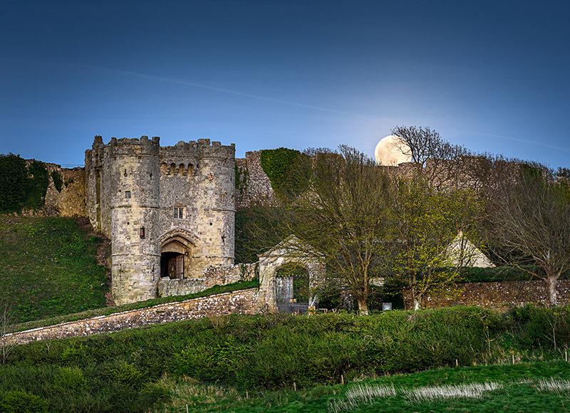 1984 Moonrise Carisbrooke Castle - Cowes, Newport and Carisbrooke landscapes