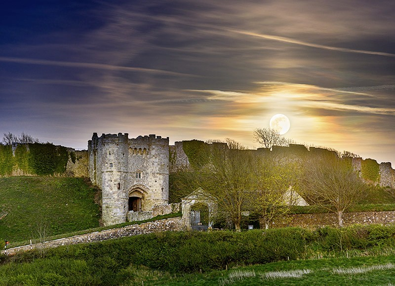 1832 Moonrise Carisbrooke Castle - The Isle of Wight at Night landscapes
