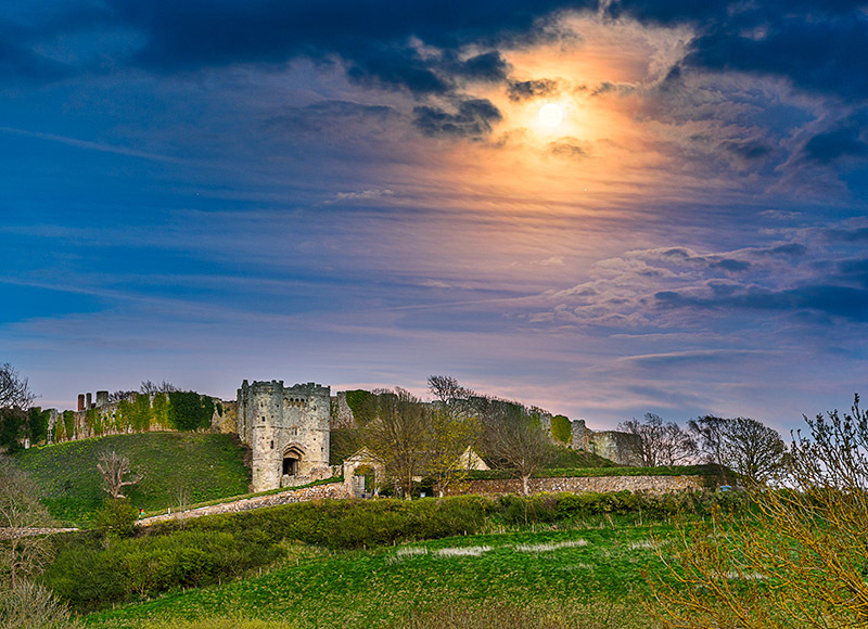1831 Moonrise Carisbrooke Castle - Cowes, Newport and Carisbrooke landscapes