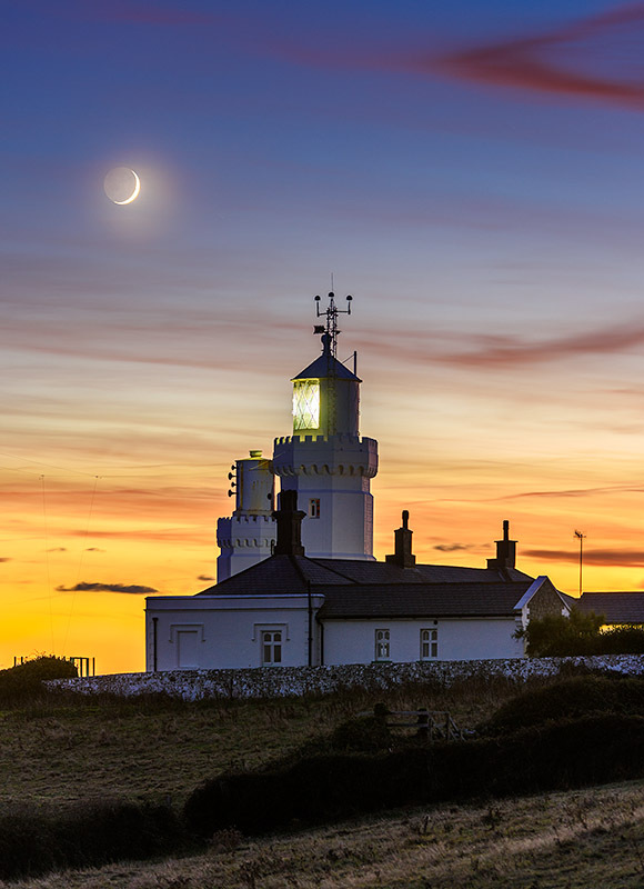 1770 Crescent Moon St Catherines Lighthouse - The Isle of Wight at Night landscapes