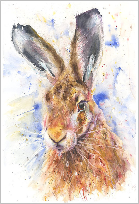 HELEN APRIL ROSE Fine Art Print of my WISE HARE wildlife art watercolour 552