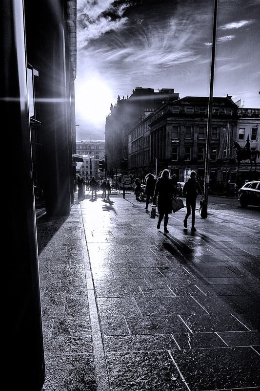 Sunlight on the streets - Black and White