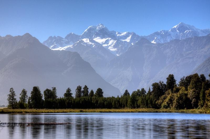 Mounts Cook and Tasman above Lake Matheson, South Island, New Zealand - New Zealand