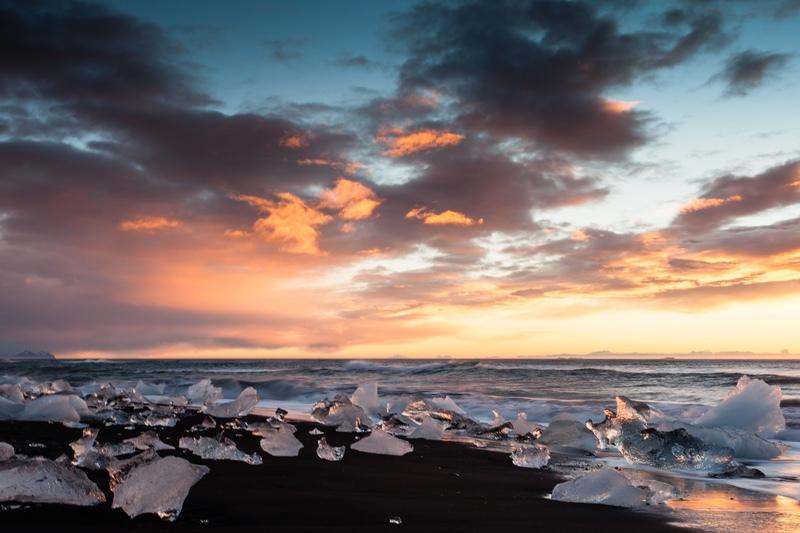 Sunrise at the Ice Beach, Iceland - Iceland