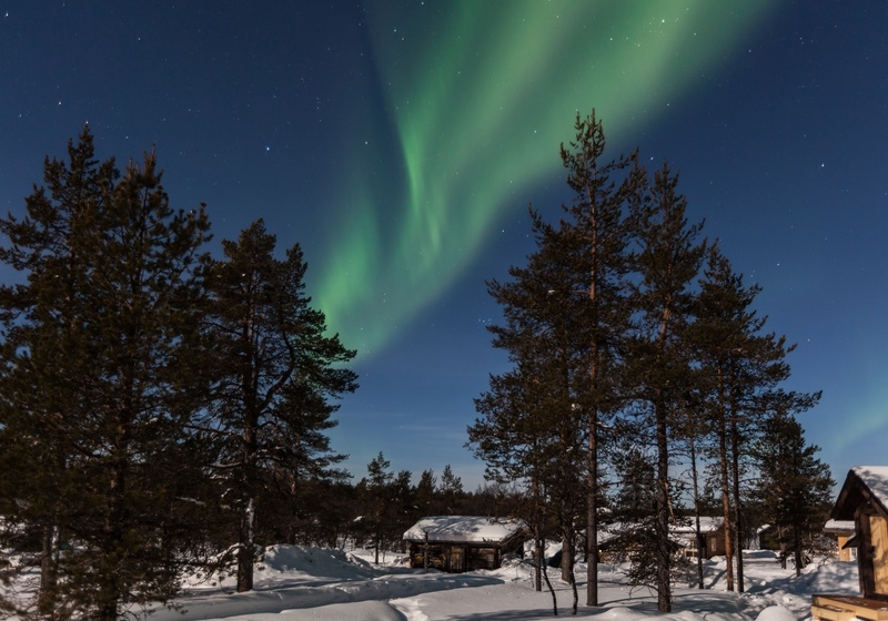 Aurora by Moonlight, Muotka, Finnish Lapland - Finland