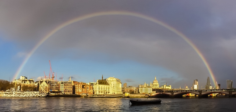 Rainbow over the City of London - London, Surrey, Sussex, & Yorkshire