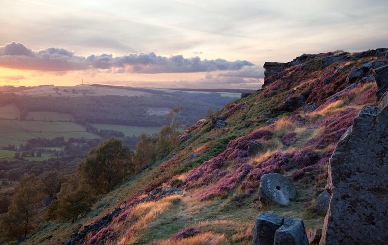 Evening Light on Curbar Edge, Derbyshire - Derbyshire, Dorset, Kent, & Leics