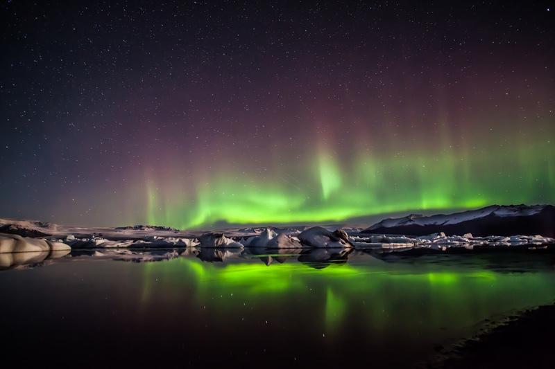 Aurora at Jokusarlon, Iceland - Iceland