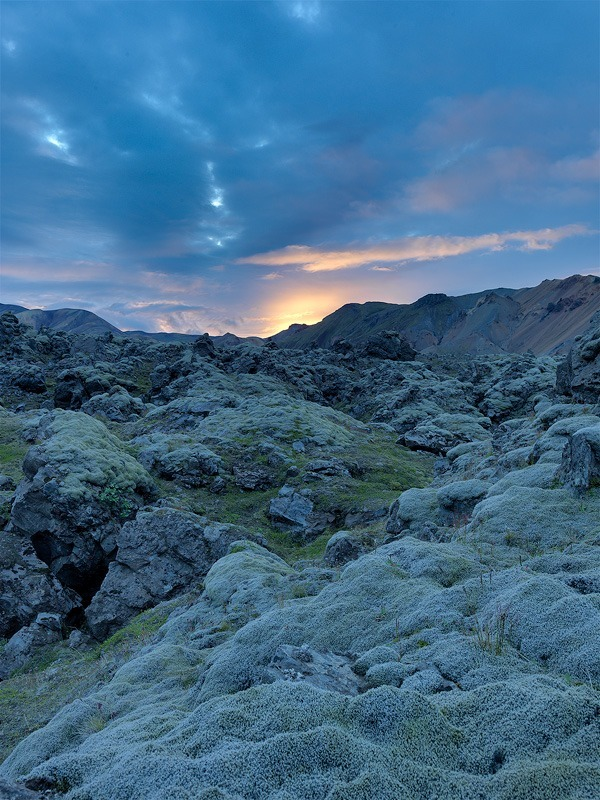 Sunset over the lava field - Iceland landscapes