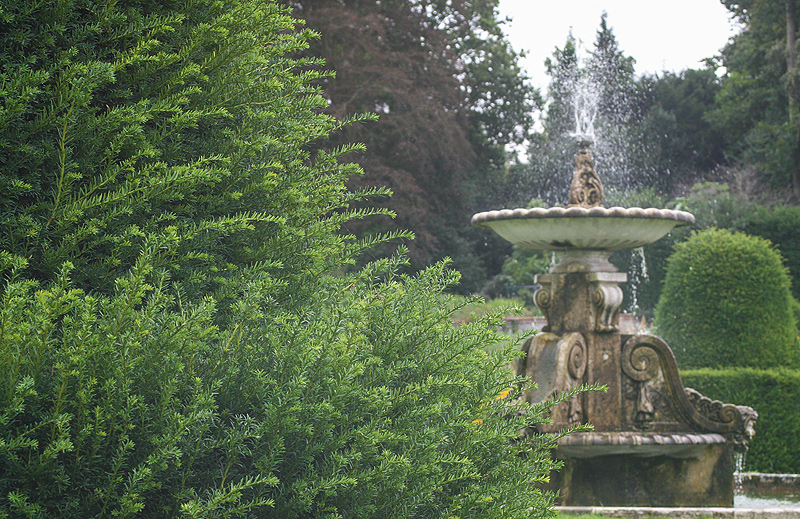 Norfolk landscape photograph of the fountain in the gardens of Blickling Hall