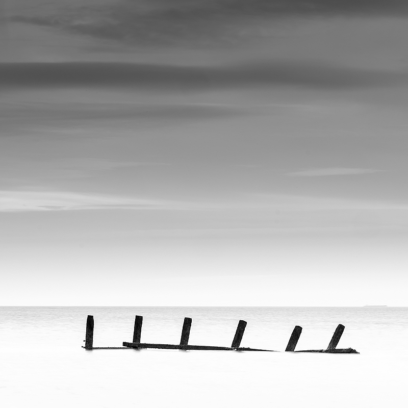 Black and white Norfolk Coast landscape photography of Happisburgh