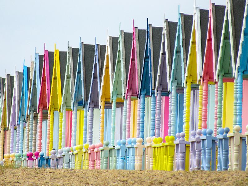 Essex coast landscape photograph of West Mersea beach huts on Mersea Island