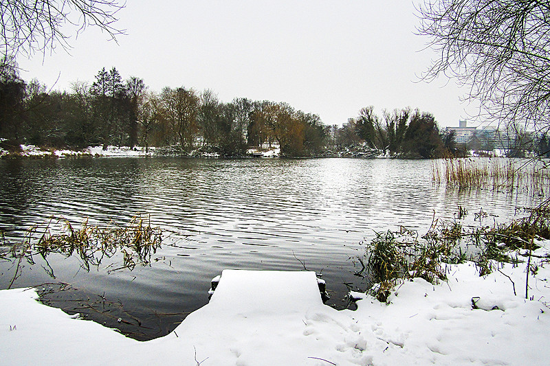 Norfolk landscape photography of UEA Lake in Snow