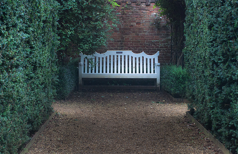 Norfolk landscape photograph of a bench in the gardens of Blickling Hall