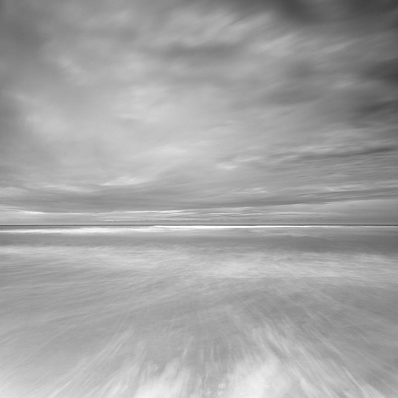 Black and white Norfolk Coast landscape photography of Cromer Beach