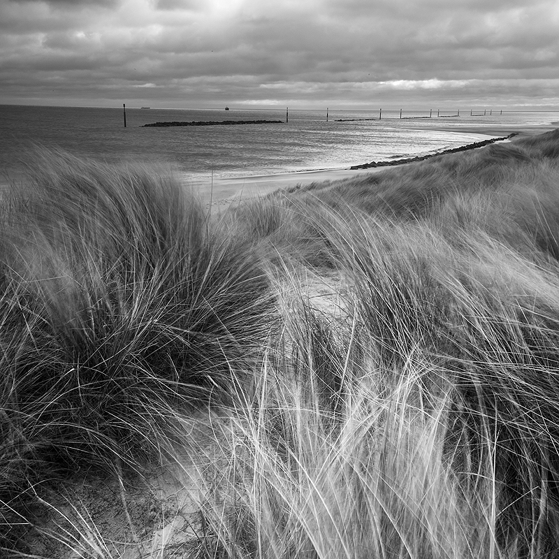 Black and white Norfolk Coast landscape photography of Sea Palling