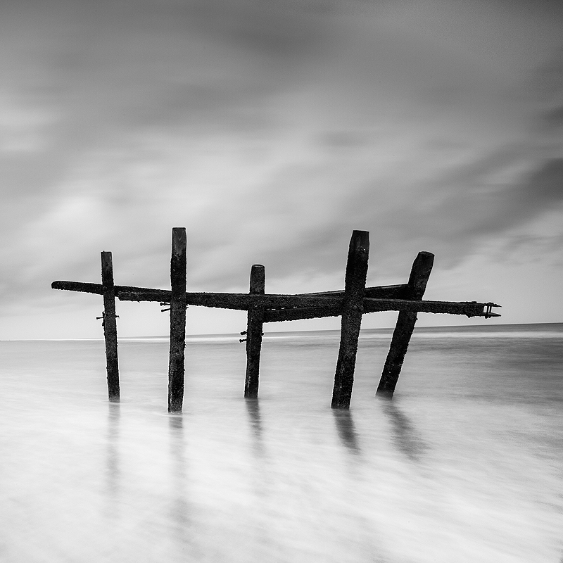 Black and white Norfolk Coast landscape photography of Happisburgh Beach