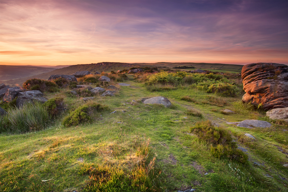 Stunning sunset photograph from Baslow Edge