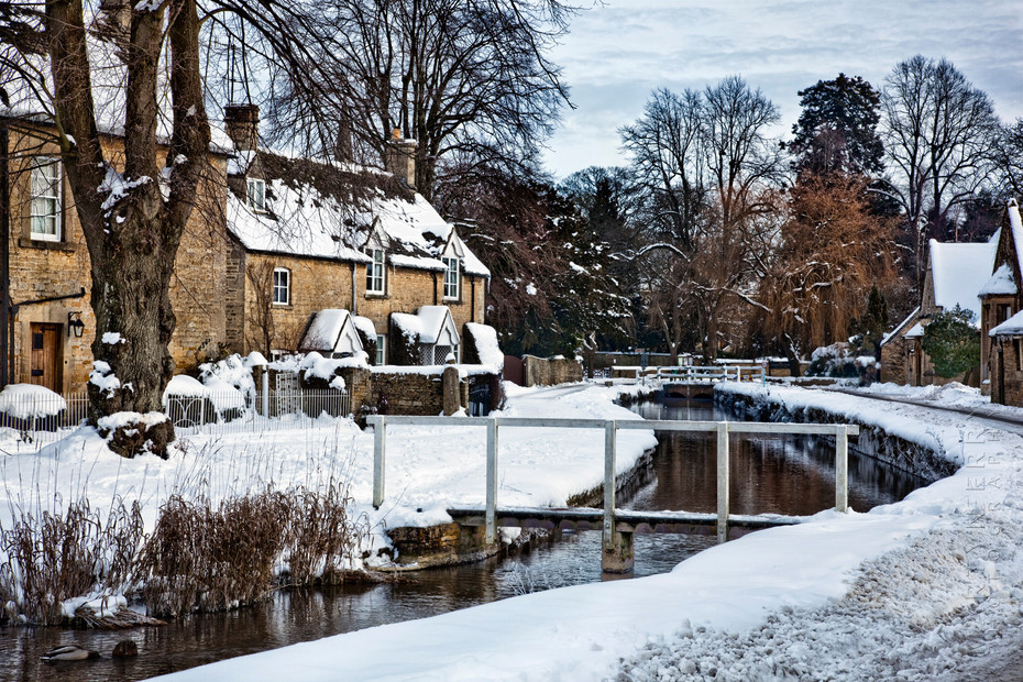 Beautiful winter scene in the Cotswold village of Lower Slaughter
