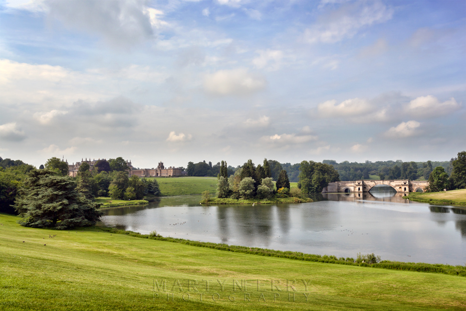 Beautiful view over Blenheim park towards the palace and the Grand Bridge