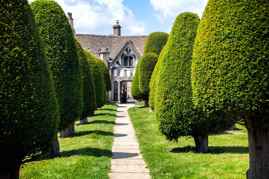 Yew trees line the path to the Lych Gate in Painswick