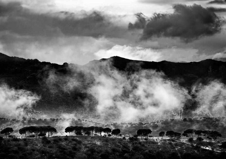 Misty landscape image in Ronda
