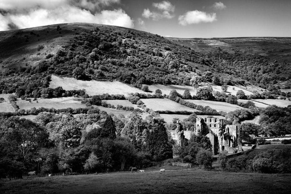 Llanthony Priory nestled in beautiful the landscape