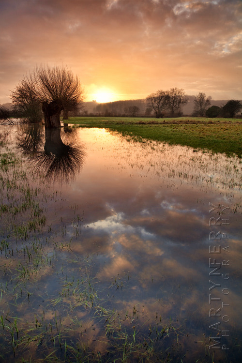 Striking photograph of a Cotswold sunrise over the River Windrush