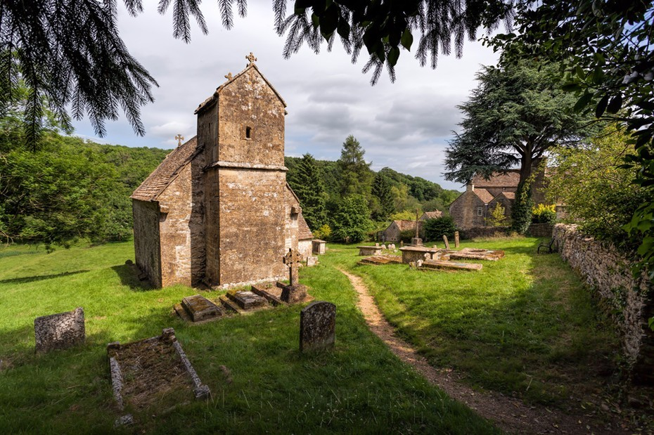 Historic Saxon church at Duntisbourne Rouse in the Cotswolds