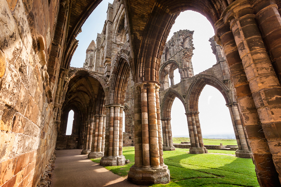 Dramatic interior shot of Whitby Abbey in North Yorkshire