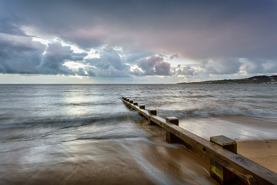 Storm clouds over the ocean from Swanage beach