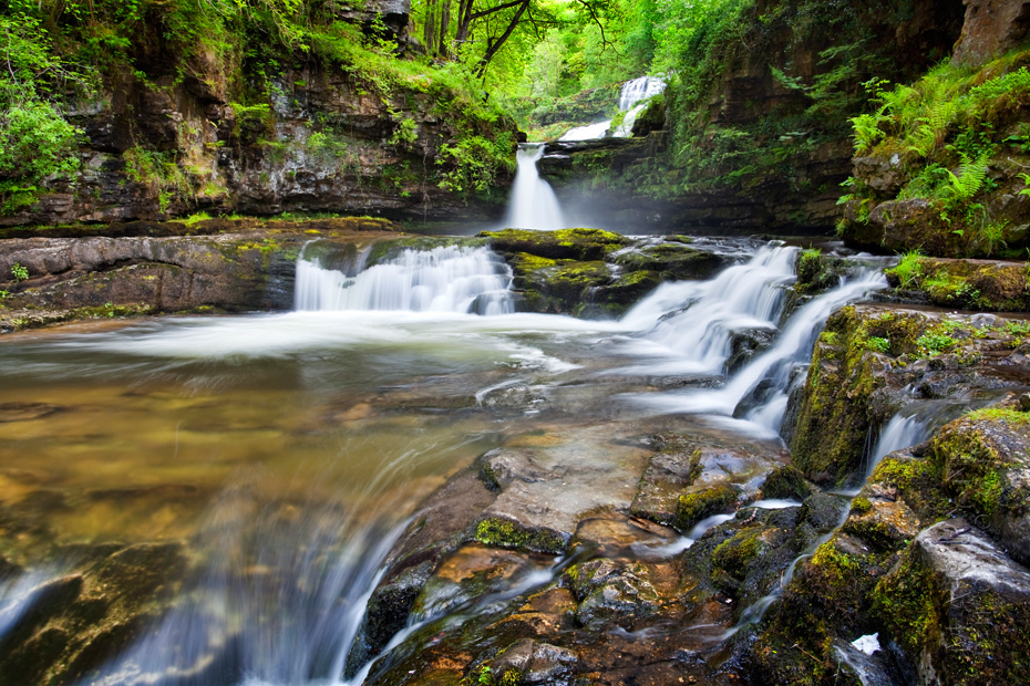 Beautiful woodland cascade in the Brecon Beacons in South Wales