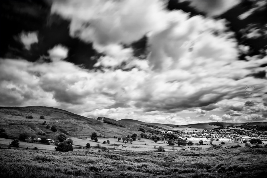Black and white photo of Hope Valley under clouds