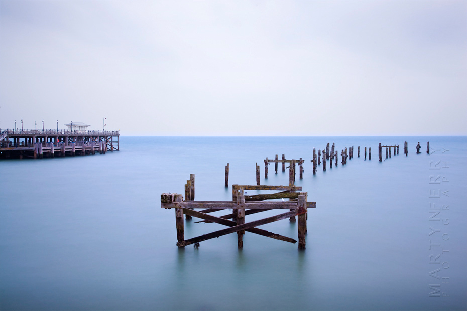 Old wooden pier at Swanage on the Dorset coast