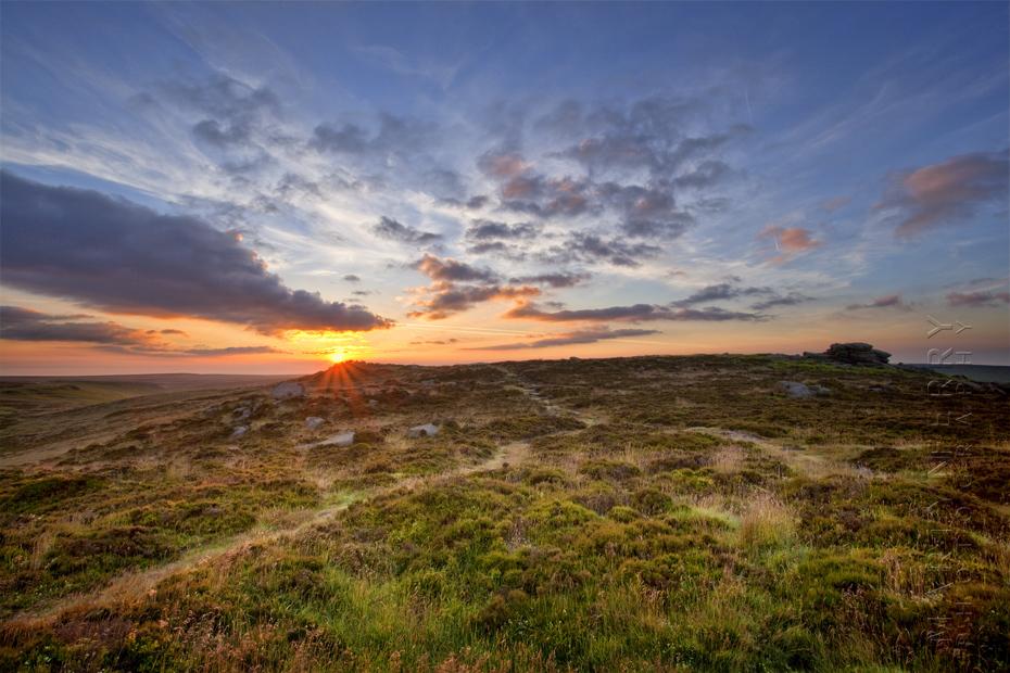 Sunrise over the Dark Peak area of Higger Tor