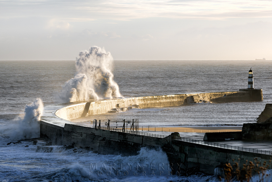 Seaham harbour wall and huge waves