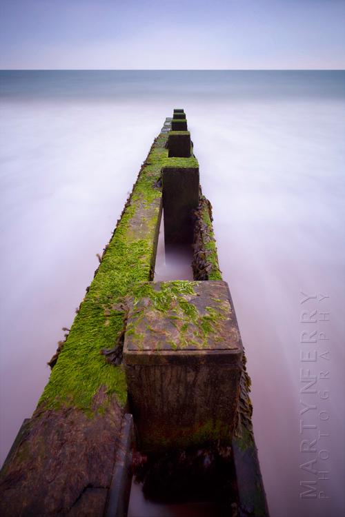 Coastal image from Swanage of seaweed covered groyne