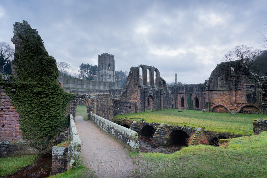 View towards Fountains Abbey on an atmospheric evening