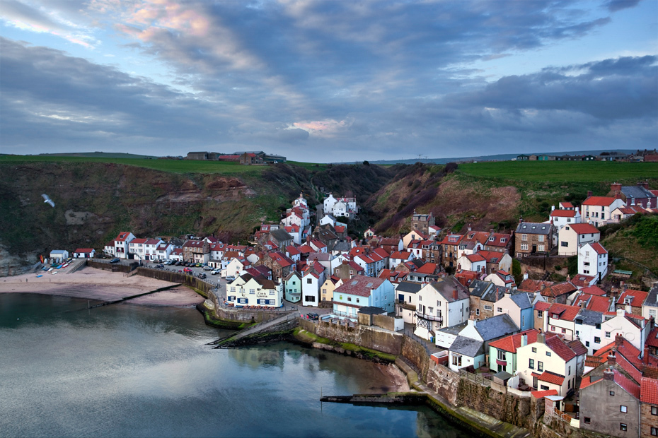 Beautiful fishing village of Staithes at sunrise