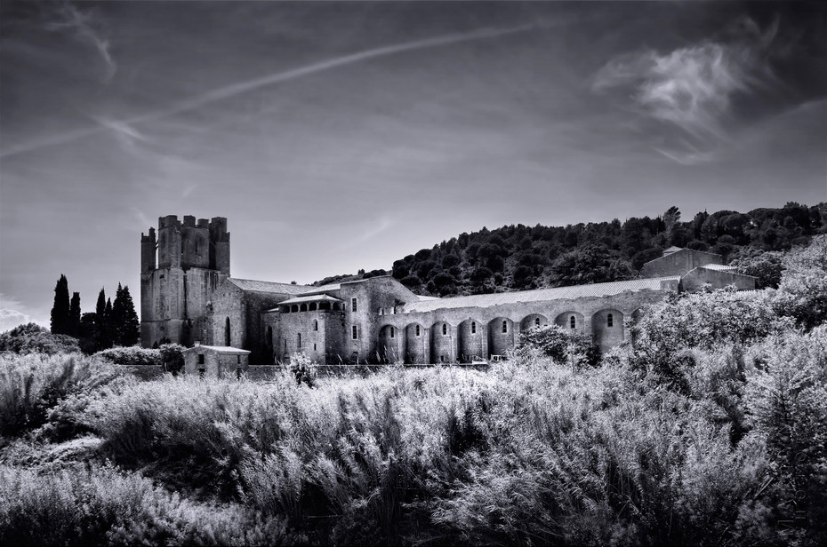 Beautiful view of Lagrasse Abbey