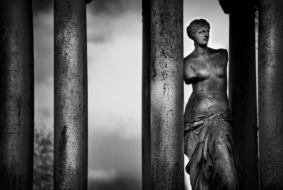 Beautiful black and white image of a female statue