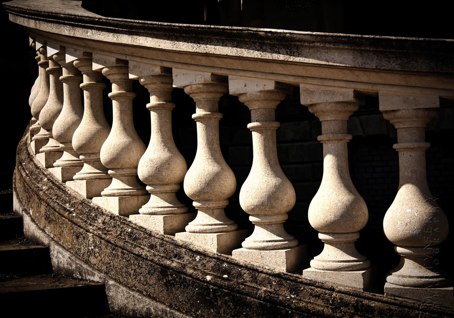 Curved balustrade at Witley court in sunlight