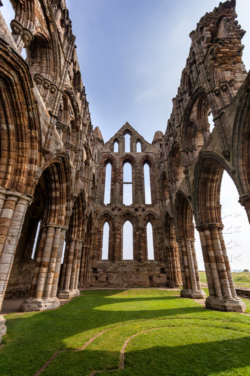 Striking image of Whitby Abbey from inside