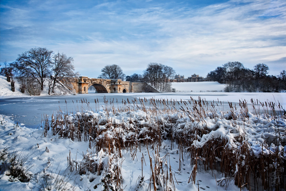 Classic photograph of Blenheim Palace under a blanket of snow