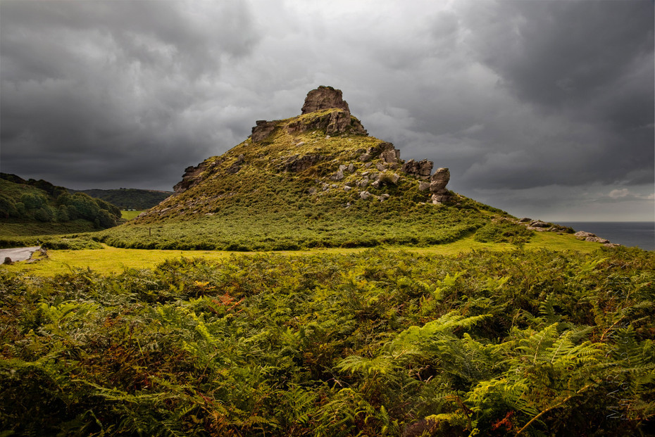 Stunning image of Castle Rock in Exmoor