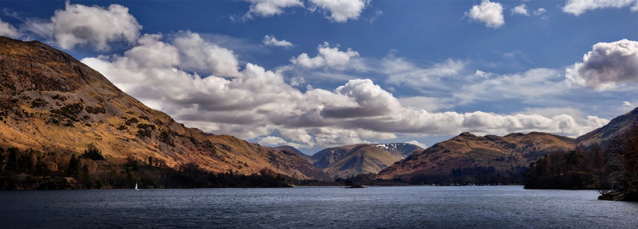 Ullswater under clouds and a blue sky