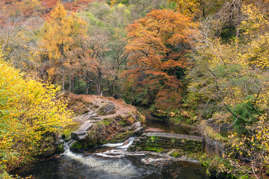 Autumn colour over an abandoned mine works in Wales